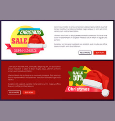 50 off christmas sale web banners push buttons vector