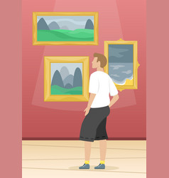 A man looks paintings famous artists vector