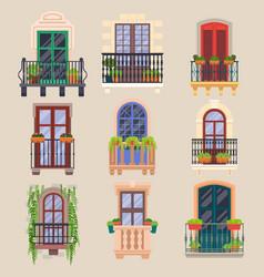 balcony windows house facade cartoon banisters vector image