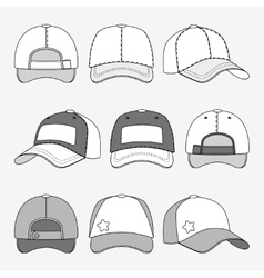 Baseball cap front back and side view outline vector