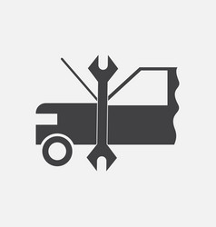 Black icon on white background car and tool vector