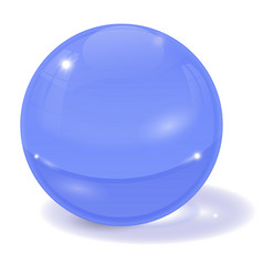 blue glass ball 3d sign with shadow vector image
