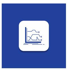 Blue round button for arrows forward graph market vector