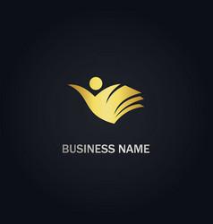 Book student education gold logo vector