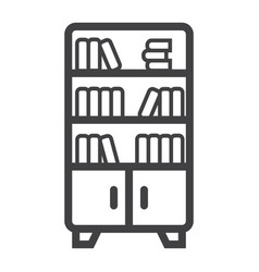 bookshelf line icon furniture and interior vector image