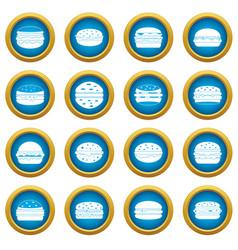 Burger icons blue circle set vector