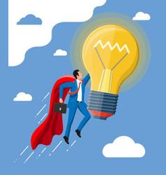 businessman sits on flying rocket light bulb vector image
