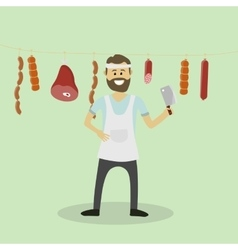 butcher Meat seller vector image
