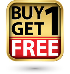 Buy 1 get 1 free golden label with red ribbon vector