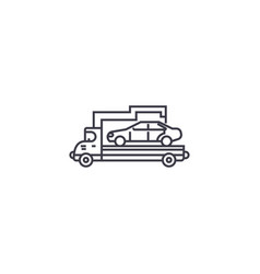 car transporter line icon sign vector image