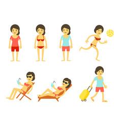 cartoon beach holidays womans set tourists vector image