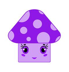 cartoon cute purple little mushroom smiling vector image