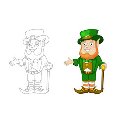 cartoon leprechaun in green frock coat and top hat vector image