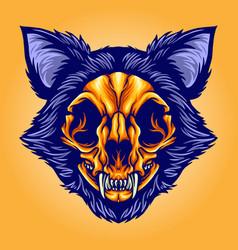 cat skull head cartoon vector image