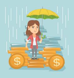 Caucasian business insurance agent with umbrella vector