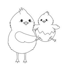 Chick in eggshell vector