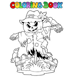 Coloring book halloween scarecrow vector
