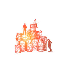 coworkers on coin stacks vector image