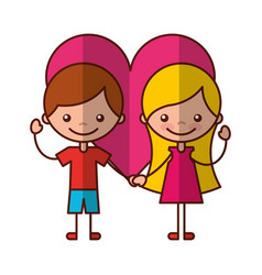 Cute kids with heart characters icon vector