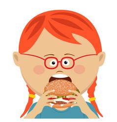 cute little girl eating a hamburger vector image