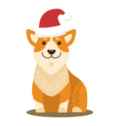 dog sitting and wearing hat vector image