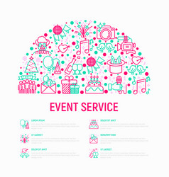 Event services concept in half circle vector