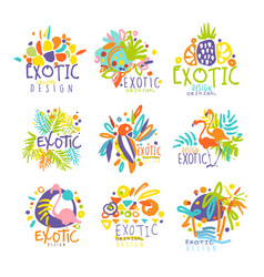 Exotic tropical summer vacation set of logo vector