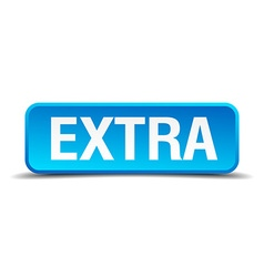 Extra blue 3d realistic square isolated button vector