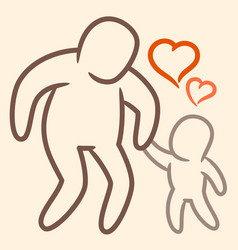 father and son hold hands and celebrate fathers vector image