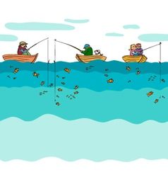 Fishing seamless background vector