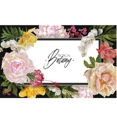 frame with flowers and tropical leaves vector image