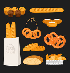 fresh bread and pastry isolated onblack background vector image