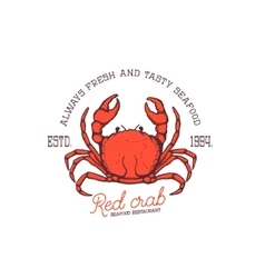 Fresh seafood Red crab seafood restaurant vector