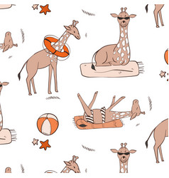 giraffa on beach sunbathing swimming relaxing vector image