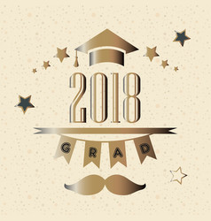 Graduation class of year 2018 in gold vector