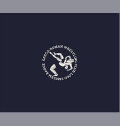 greco-roman wrestling club logo template vector image