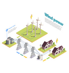 green energy isometric composition vector image