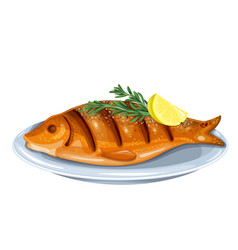 Grilled fish with rosemary and lemon vector