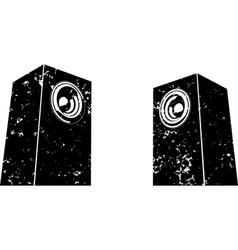 Grunge sound-system speaker icon in black white vector