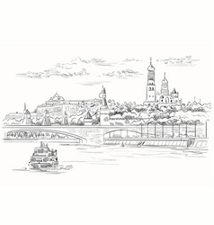 hand drawing moscow-3 vector image