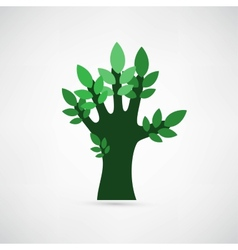 Hand forming a tree with leaves vector