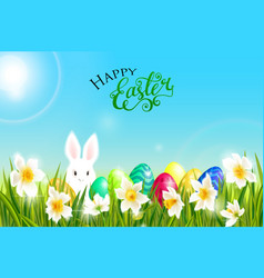 happy easter card with eggs rabbit spring vector image