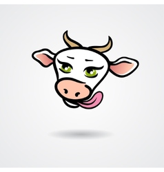 Head of licking cow isolated on a white background vector