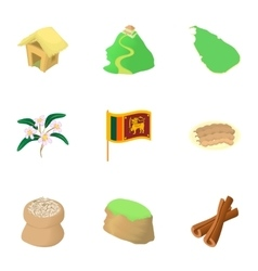 Holiday in Sri Lanka icons set cartoon style vector