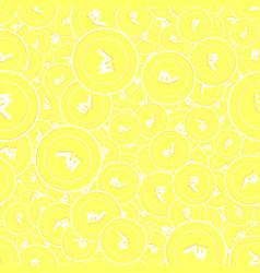 Indian rupee gold coins seamless pattern eminent vector