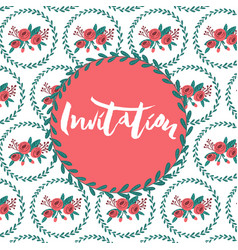 invitation template on patterned background vector image
