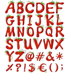 Letters of the alphabet with strawberry design vector