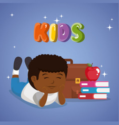 Little afro schoolboy with education supplies vector
