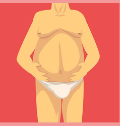 Male torso with a fat belly front view obesity vector