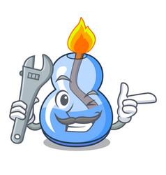 Mechanic alcohol burner mascot cartoon vector